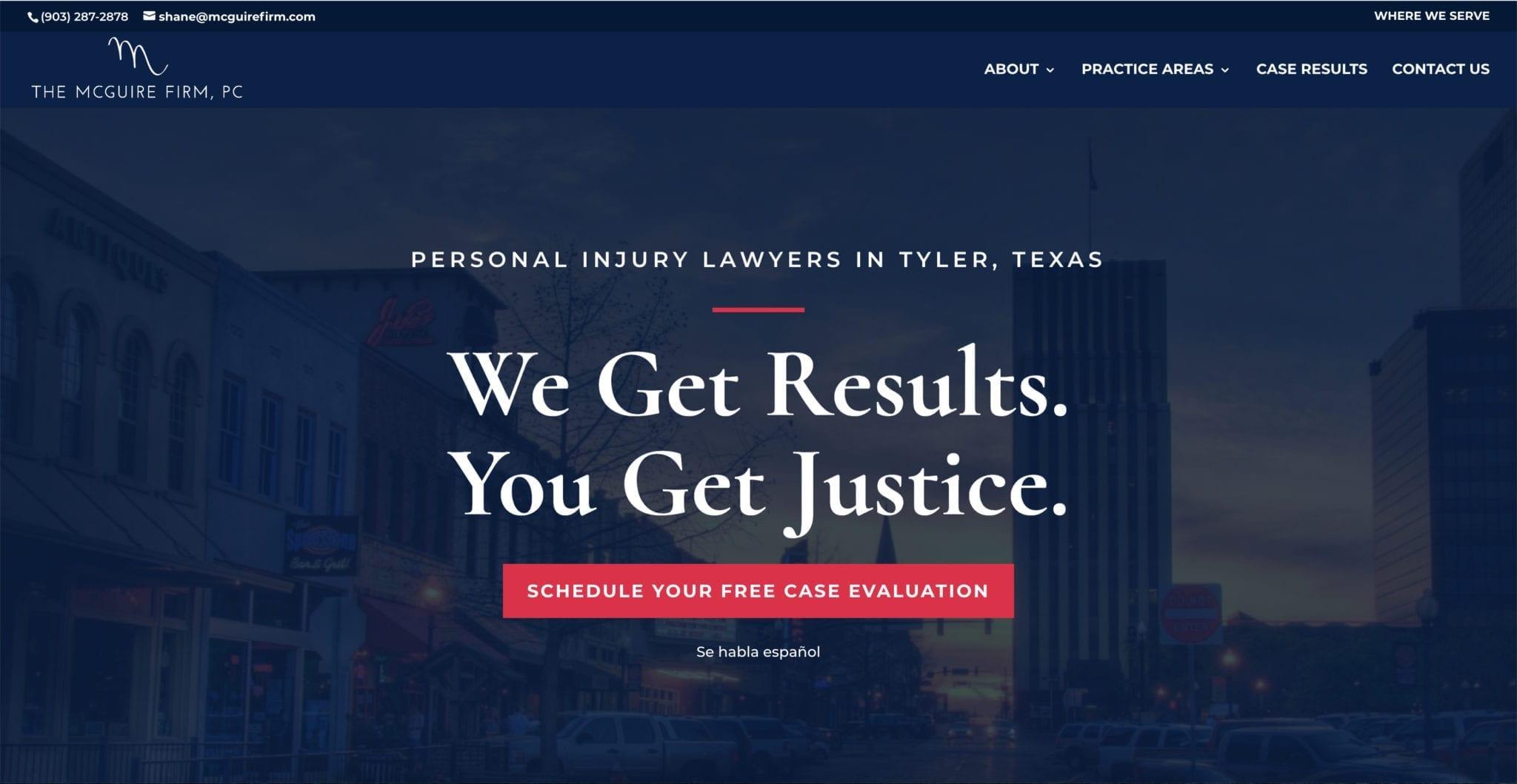 Personal Injury Law Web Design