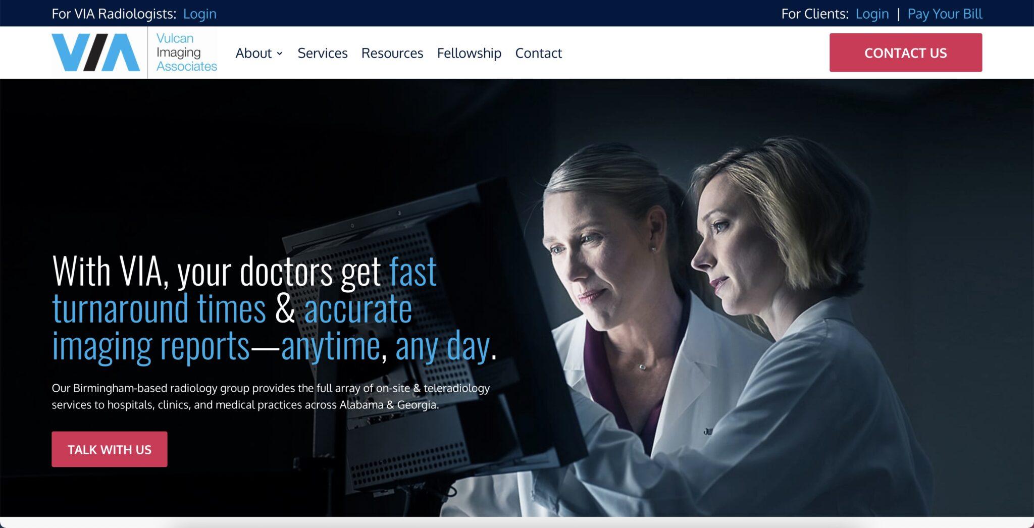 Web Design for Vulcan Imaging Associates Radiology Group